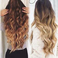 """25"""" One piece clip in hair extensions Brown Blonde black Dip dye Ombre long ldd"""