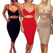 Women's Summer V-Neck Bandage Bodycon Sling Clubwear Party Cocktail Mini Dress