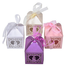 10/50/100 Wedding Laser Cut Favor Bomboniere Candy Love Heart  Cage Gift Box new