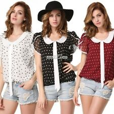 Fashion Womens Short Sleeve See-through Shirt Polka Dot T-Shirt Blouse Tops S0BZ