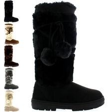 Ladies Pom Pom Tall Fur Lined Winter Warm Snow Rain Knee High Boots All Sizes