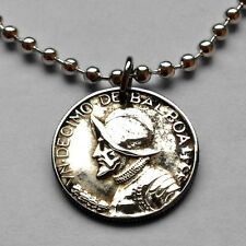 Panama 1/10 of a Balboa coin pendant necklace armored helmet Vasco Núñez n000260