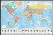 POLITICAL MAP OF THE WORLD - FRAMED POSTER / PRINT (WORLD MAP WITH FLAGS)