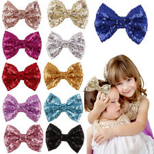 Lovely Baby Girl Sequin Fashion Handmade Hair Bow With Clip For Girls Hot EF
