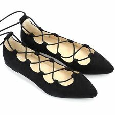 Women Ladies Flat Lace Up Cut Out Pointed Toe Ballerina Strappy Pumps Shoes AUS