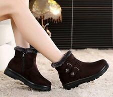 Womens winter snow zip up fur lined ankle boots plus size US10 shoes