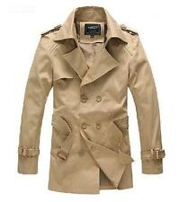 Mens double breasted trench coat Belted khaki Casual Slim Jacket outwear parka
