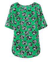 Ladies Simply Be Green & Black Smart Floral Woven Smart Top - 12 18 *NEW*