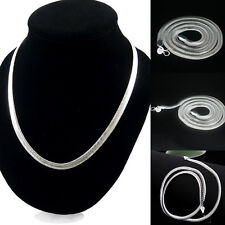 "Women Men Stylish 925 Silver 6mm Wide Flat Snake Chain Necklace Jewelry 16""-24"""