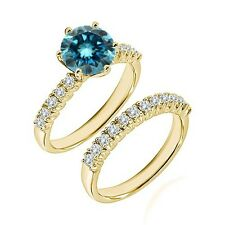 1.25 Ct Blue Diamond Fancy Wedding Anniversary Solitaire Ring Bnad Yellow Gold