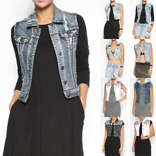 TheMogan Vintage Washed Denim Vest Sleeveless Jean Jacket Trucker Waistcoat