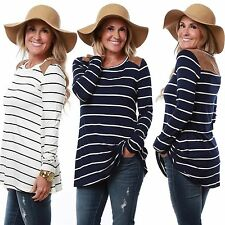 New Womens Ladies Long Sleeve Round Neck Stripe Casual Loose T-shirt Blouse Tops