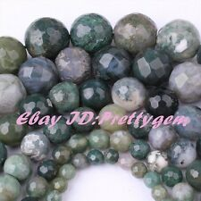 "Natural Moss Agate Green Faceted Round Gemstone Beads Strand 15"" 4,6,8,10,12mm"