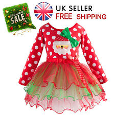 Christmas Santa Baby Girls Skirt Outfit Party Lace Tutu Kid Fancy Red Dress Xmas