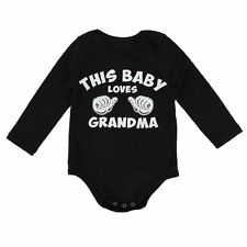 "CHICKABIDDY ROMPER CUTE BABY LONG SLEEVE JUMPSUIT ""THIS BABY LOVES GRANDMA"""