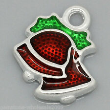 Wholesale Lots Charm Pendants Enamel Christmas Bell Silver Plated 15mmx13mm