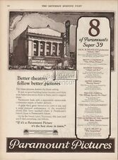 1923 McVickers Theater Movie Theatre Chicago IL Paramount Pictures Vintage Ad