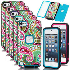 Glossy Cashew Flowers Shockproof Heavy Duty Armor Rugged Case For iPod Touch 5 6