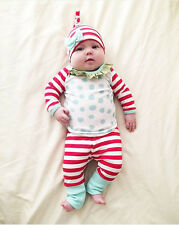 New Baby Boys Girls Clothing Set Top Pants Hat 3 Pcs/Set Christmas Outfit