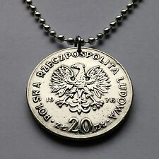 Poland 20 Złotych coin pendant white Polish EAGLE Polska necklace Warsaw n001591