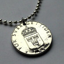 Sweden 1 krona coin pendant Swedish necklace 3 crowns shield Nordic n000335
