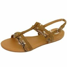 LADIES TAN FLAT COMFY SANDALS FLIP-FLOP SHOES T-BAR SUMMER BEACH PUMPS UK 3-8