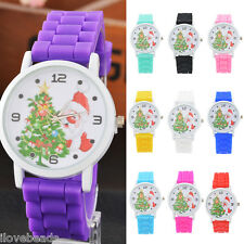 Kids Cute Silicone Quartz Watch Santa Claus Christmas Tree Wristwatch Gift