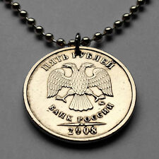 Russia 5 Rubles coin pendant Russian double headed EAGLE necklace Moscow n001593