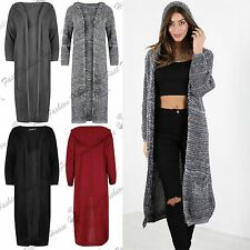 Womens Chunky Knit Open Front Hoodie Hooded Pocket Oversized Baggy Midi Cardigan