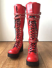 Handmade Japan Gothic Visual Kei Punk Industrial Metal D-Ring Vegan Knee hi Boot