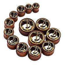 Pair Ear Tunnel Plugs Wood Ear Gauges Anchor Design Ear Piercing Jewelry