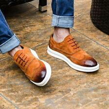 Mens suede leather dress formal shoes oxford brogue wingtip carving casual shoes