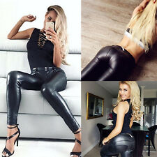 Sexy Fashion Women Stretch Leather Panel Slim Leggings Tight Pants Trousers