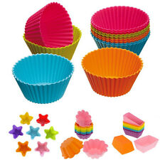 12PCS Silicone Cake Muffin Chocolate Cupcake Bakeware Baking Cup Mold Mould Soft
