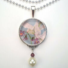 "DOVE BIRD VIOLET ""VINTAGE CHARM"" PEACE SILVER OR BRONZE GLASS PENDANT NECKLACE"