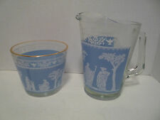 Vintage Glass Pitcher & Ice Bucket  Blue & White English Pattern
