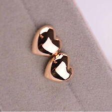 Fashion Women Ladies Heart Shape Silver/Rose Gold Plated Charm Ear Stud Earrings