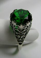4ct*Green Emerald* Solid Sterling Silver Ivy Nouveau Filigree Ring Size: Any/MTO