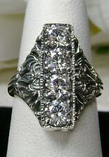 White 4 Gem Zirconia Solid Sterling Silver Edwardian Filigree Ring Size: Any/MTO