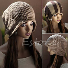 Women Knitted Stripe Baggy Beanie Ski Beret Slouchy Skull Unisex Winter Hat Cap