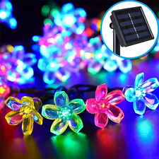 50 LED Solar Power Peach Blossom Flower Fairy String Lights Lamp Festival Decor