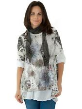 New Womens Italian Lagenlook Floral Sparkle Lace Scarf Top Size 12 14 18