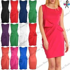 Womens Ladies Side Ruched Big Bow Tie Knot Sleeveless Drape Midi Dress Plus Size