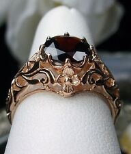 1.6ct Natural Red Garnet 14k Solid Rose Gold Filigree Daisy Ring Size Any/MTO