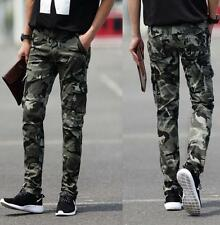 Mens slim camo casual cargo pants pencil pockets overalls outdoor work trousers