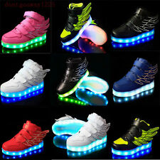 New Boys Girls LED Light up Lace Up Luminous Sneakers Kids Children Casual Shoes