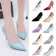 New Women Candy Color Patent Leather Pointed Toe High Heels Corset Pumps Shoes