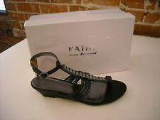 Kathy Van Zeeland Evie Black Toe-loop Wedge Sandals New