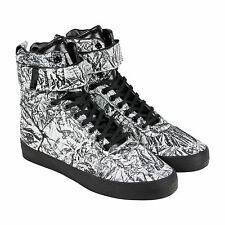Radii Vertex Mens White Black Leather High Top Lace Up Sneakers Shoes