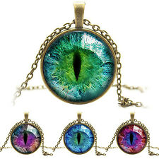 New Quite Popular Colored Dragon Cat Eye Glass Cabochon Plated Pendant Necklace